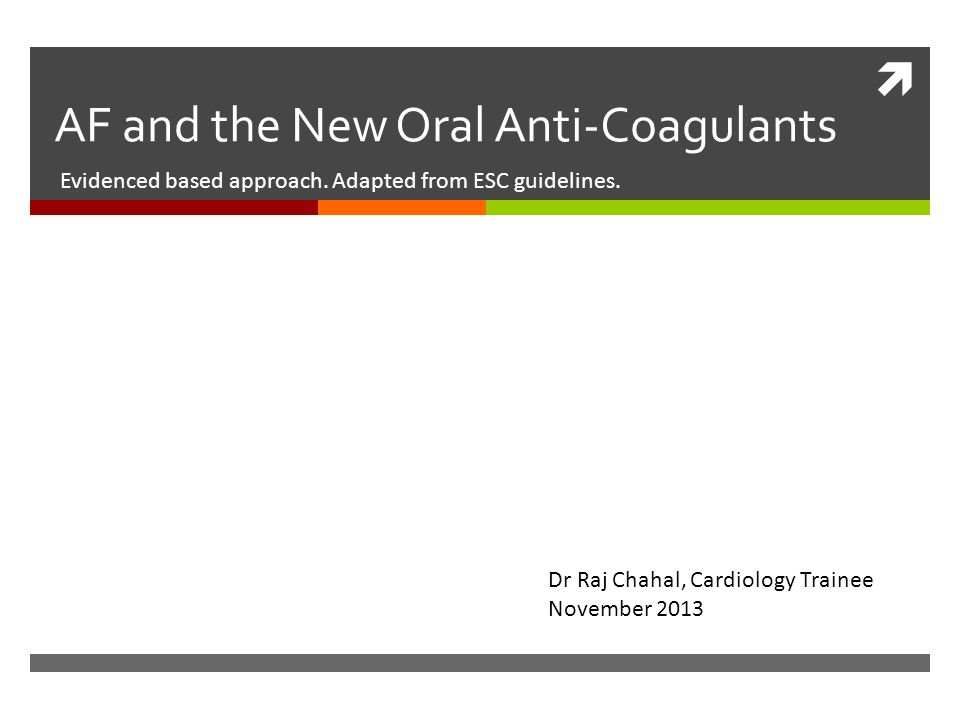 AF and the New Oral Anti-Coagulants