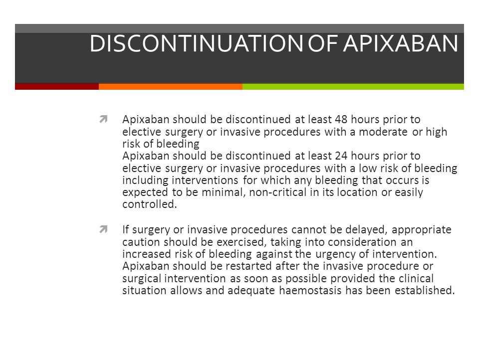 DISCONTINUATION OF APIXABAN