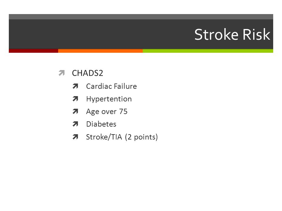 Stroke Risk CHADS2 Cardiac Failure Hypertention Age over 75 Diabetes