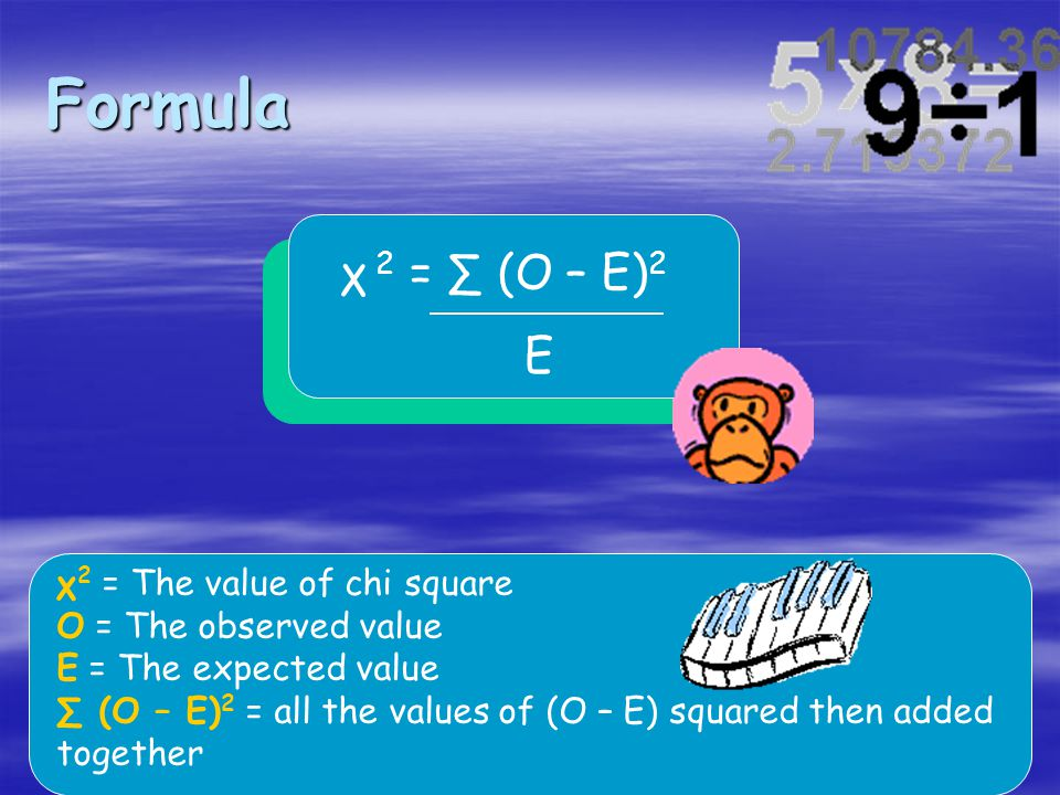 Formula χ 2 = ∑ (O – E)2 E χ2 = The value of chi square