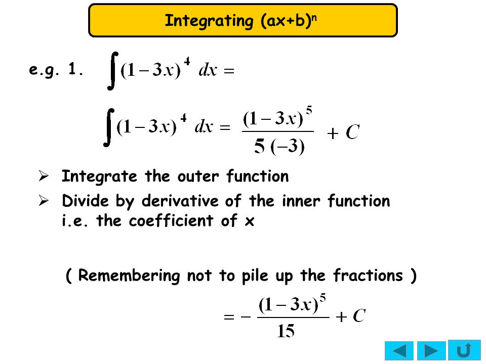 e.g. 1. Integrate the outer function. Divide by derivative of the inner function. i.e. the coefficient of x.