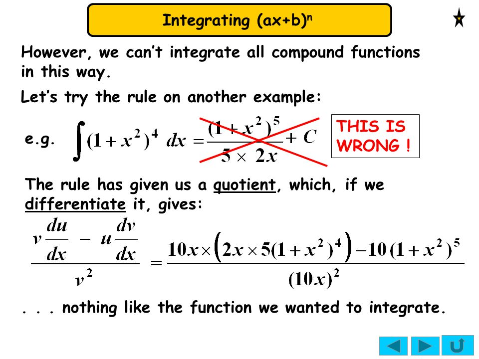 However, we can't integrate all compound functions in this way.