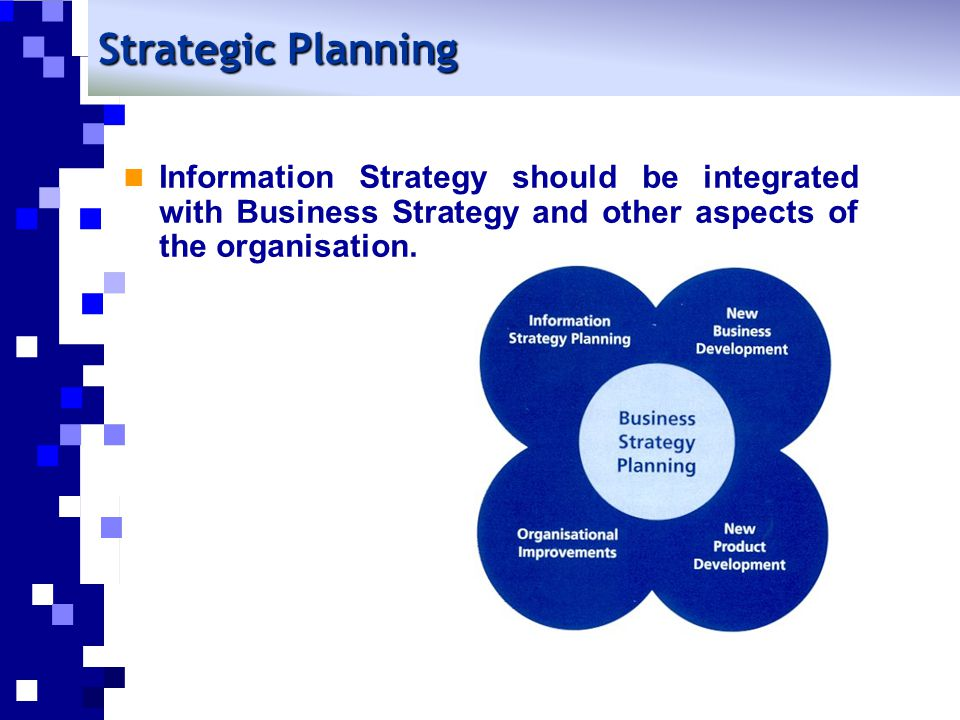Strategic Planning Information Strategy should be integrated with Business Strategy and other aspects of the organisation.