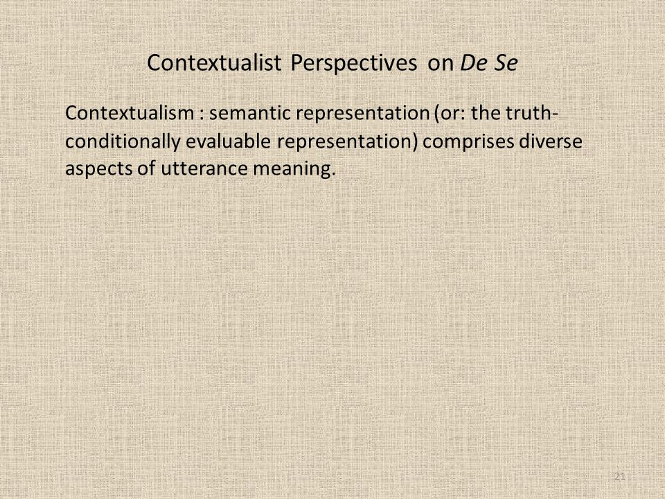 Contextualist Perspectives on De Se