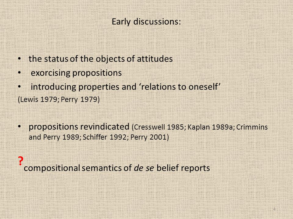 compositional semantics of de se belief reports