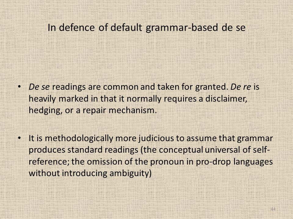 In defence of default grammar-based de se