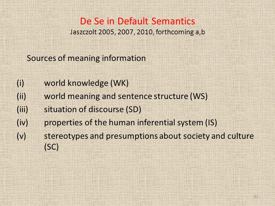 De Se in Default Semantics Jaszczolt 2005, 2007, 2010, forthcoming a,b