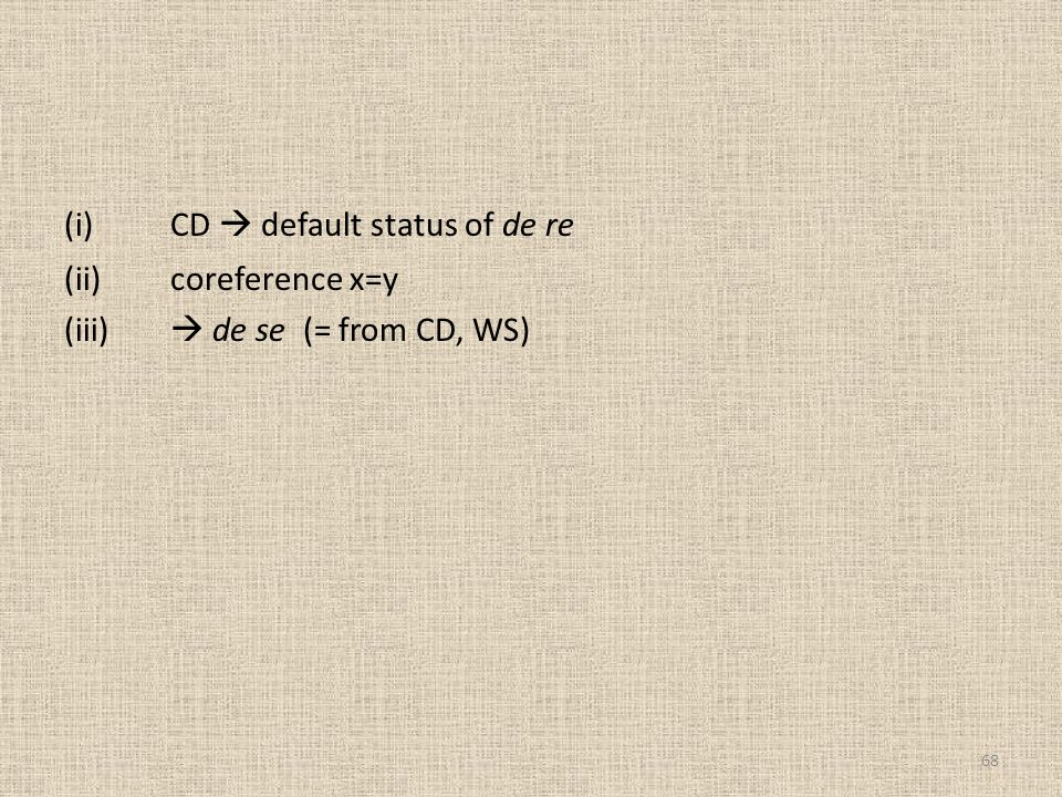 (i) CD  default status of de re (ii) coreference x=y (iii)  de se (= from CD, WS)