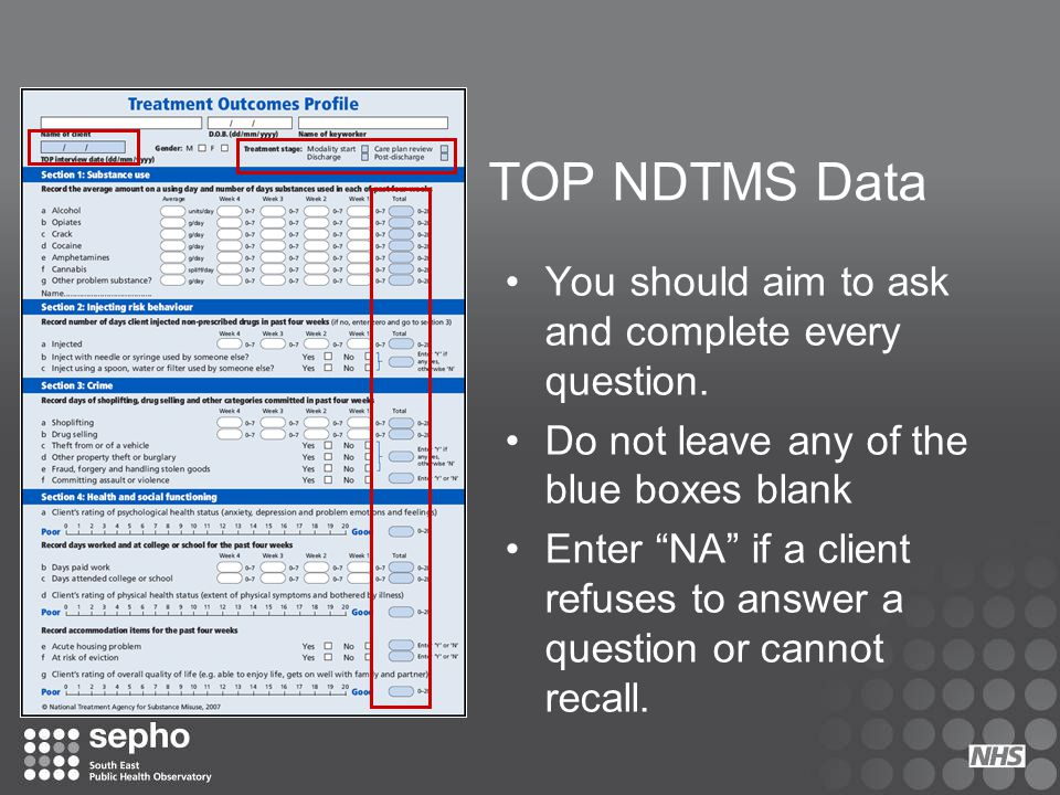TOP NDTMS Data You should aim to ask and complete every question.
