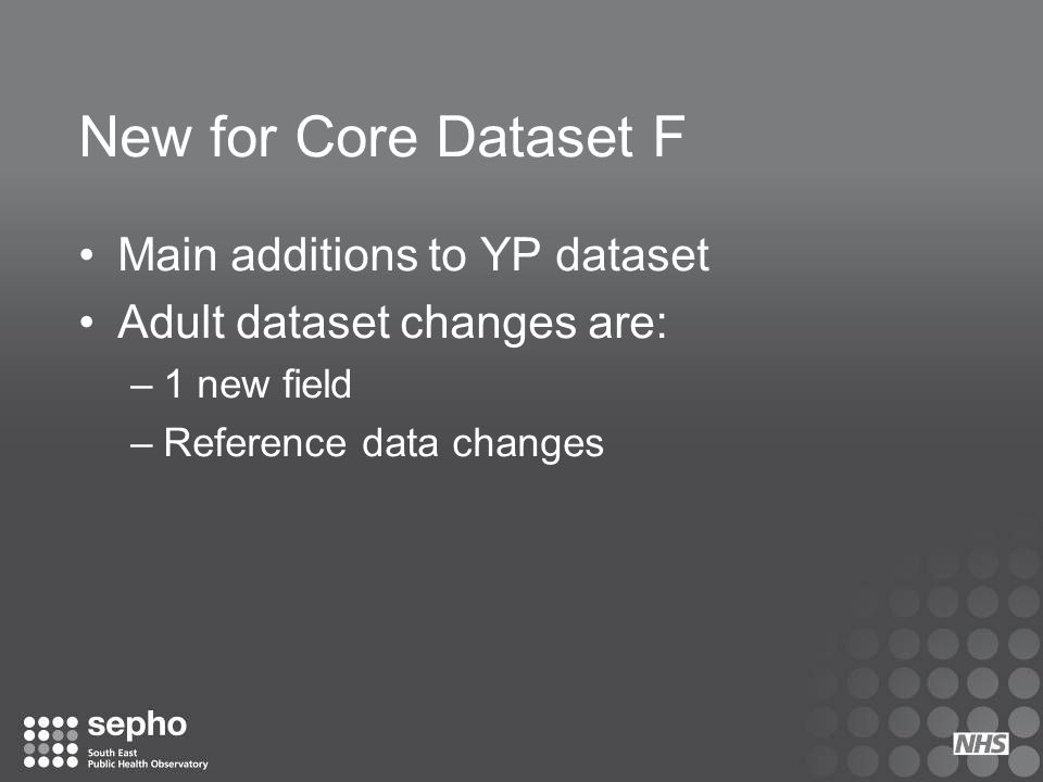 New for Core Dataset F Main additions to YP dataset