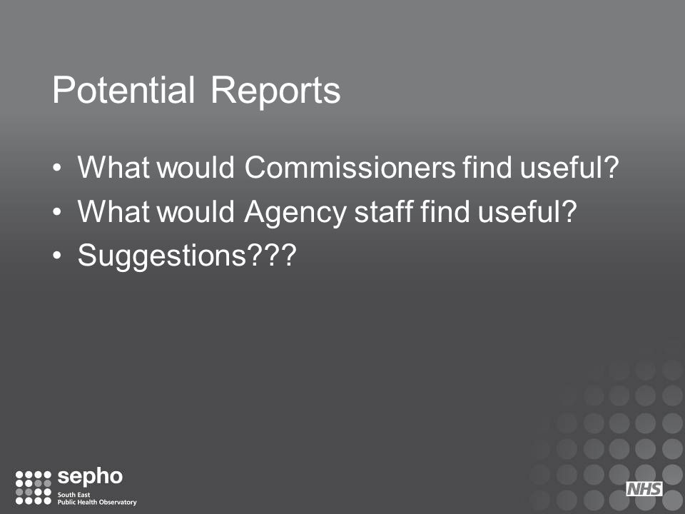 Potential Reports What would Commissioners find useful
