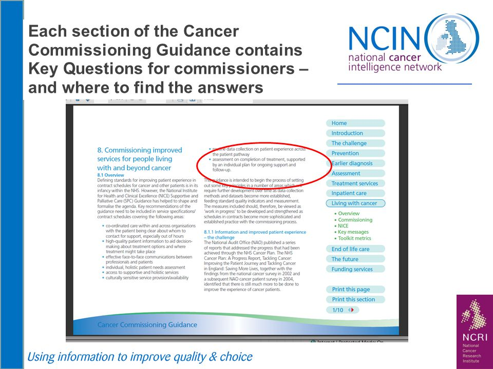 Each section of the Cancer Commissioning Guidance contains Key Questions for commissioners – and where to find the answers