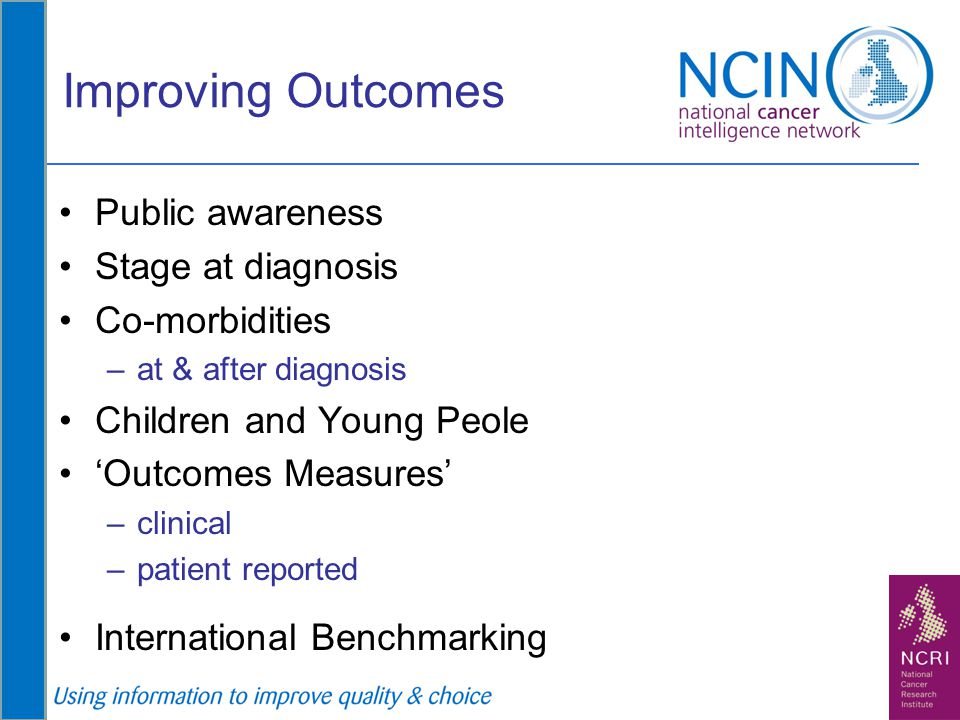 Improving Outcomes Public awareness Stage at diagnosis Co-morbidities