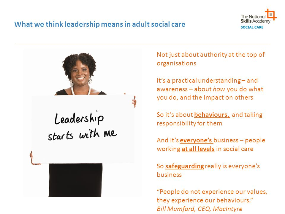 What we think leadership means in adult social care