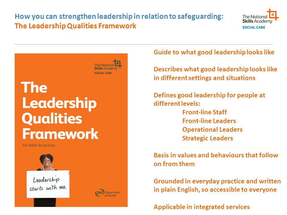 How you can strengthen leadership in relation to safeguarding: The Leadership Qualities Framework