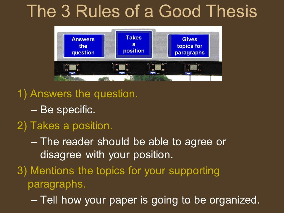 The 3 Rules of a Good Thesis