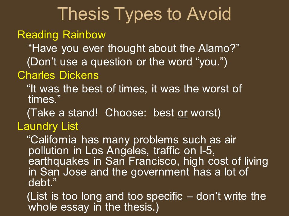 Thesis Types to Avoid Reading Rainbow
