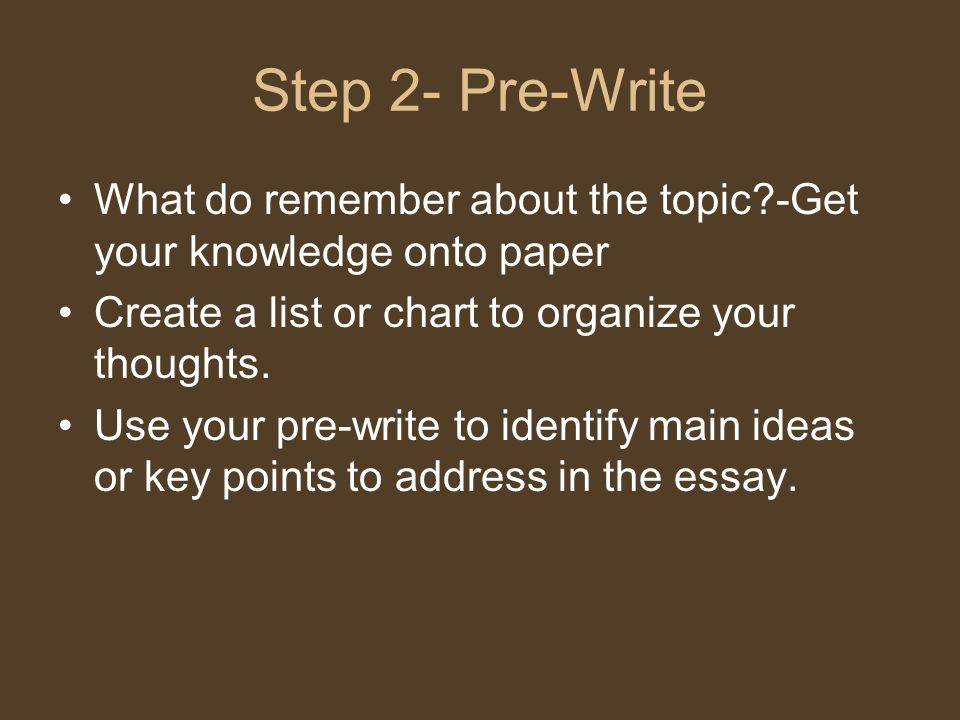 Step 2- Pre-Write What do remember about the topic -Get your knowledge onto paper. Create a list or chart to organize your thoughts.