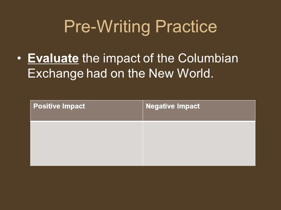 Pre-Writing Practice Evaluate the impact of the Columbian Exchange had on the New World. Positive Impact.