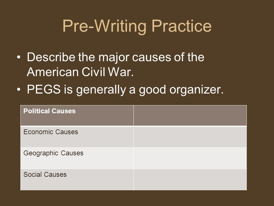 Pre-Writing Practice Describe the major causes of the American Civil War. PEGS is generally a good organizer.