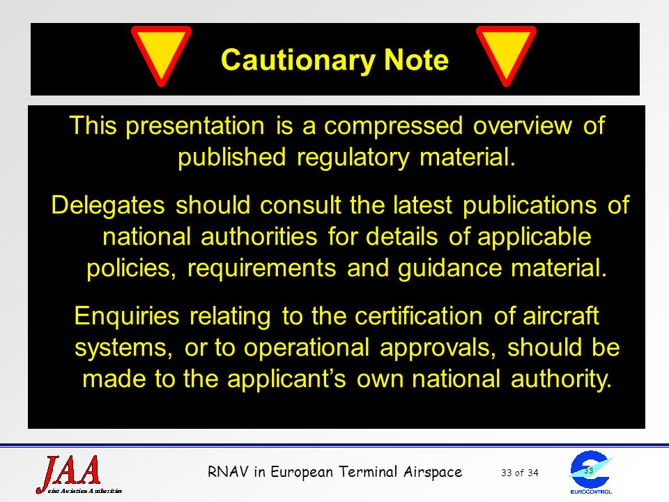 Cautionary Note This presentation is a compressed overview of published regulatory material.