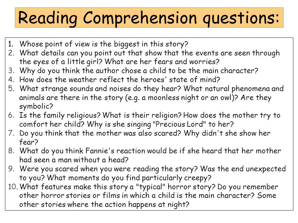 Reading Comprehension questions: