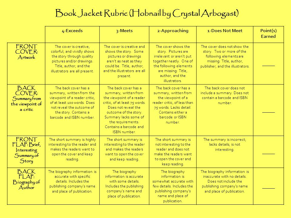 Book Jacket Rubric (Hobnail by Crystal Arbogast)