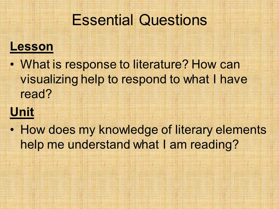 Essential Questions Lesson