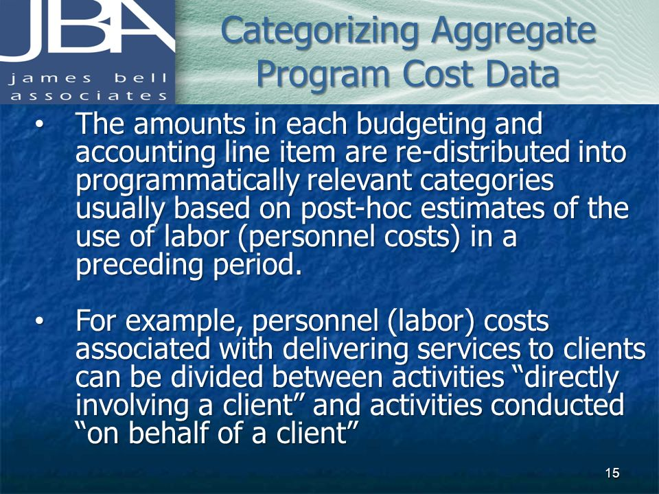 Categorizing Aggregate Program Cost Data