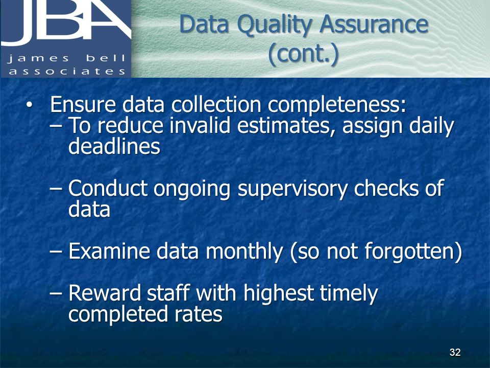 Data Quality Assurance (cont.)