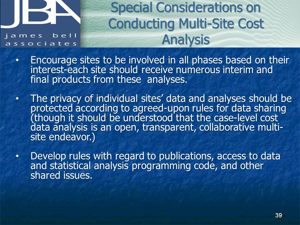 Special Considerations on Conducting Multi-Site Cost Analysis