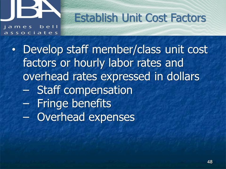 Establish Unit Cost Factors