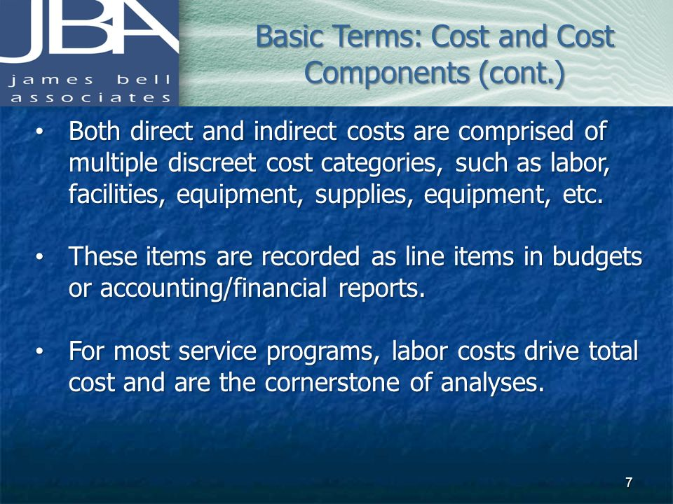 Basic Terms: Cost and Cost Components (cont.)