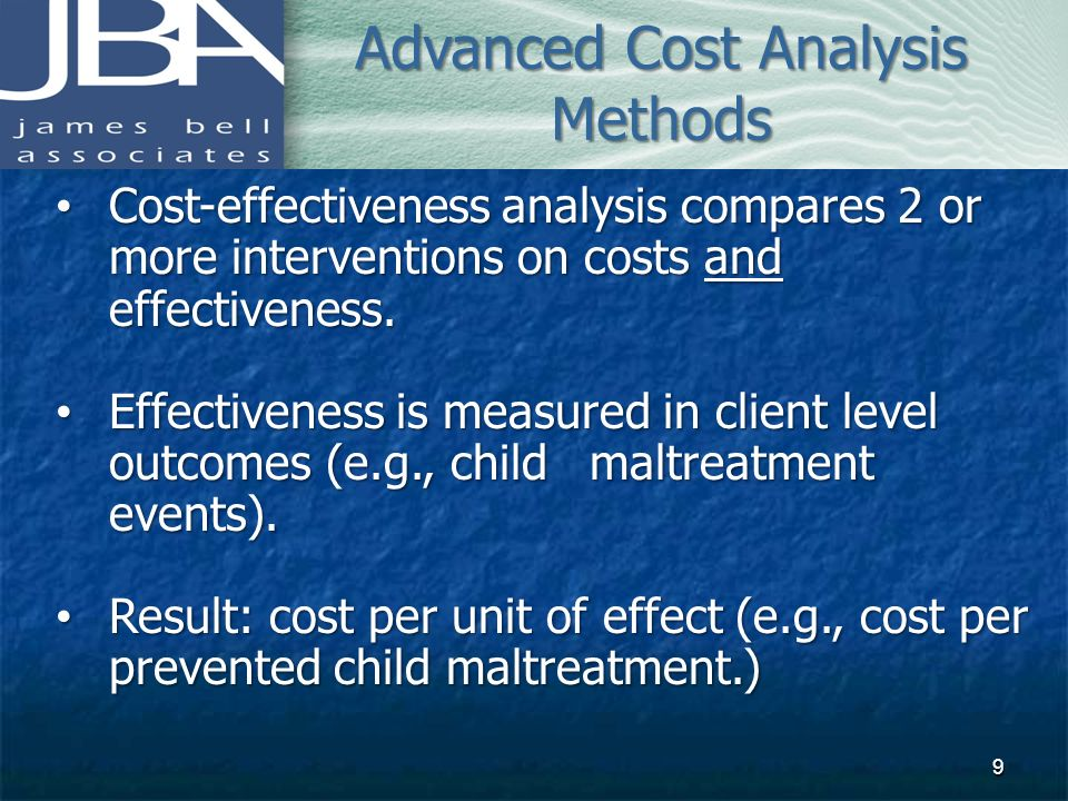 Advanced Cost Analysis Methods