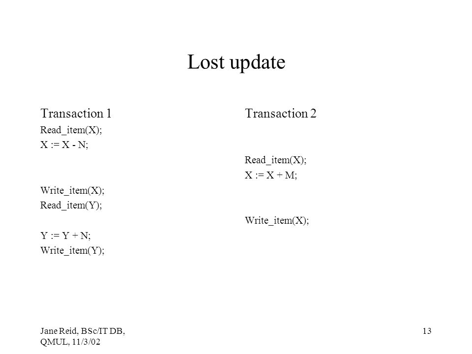 Lost update Transaction 1 Transaction 2 Read_item(X); X := X - N;