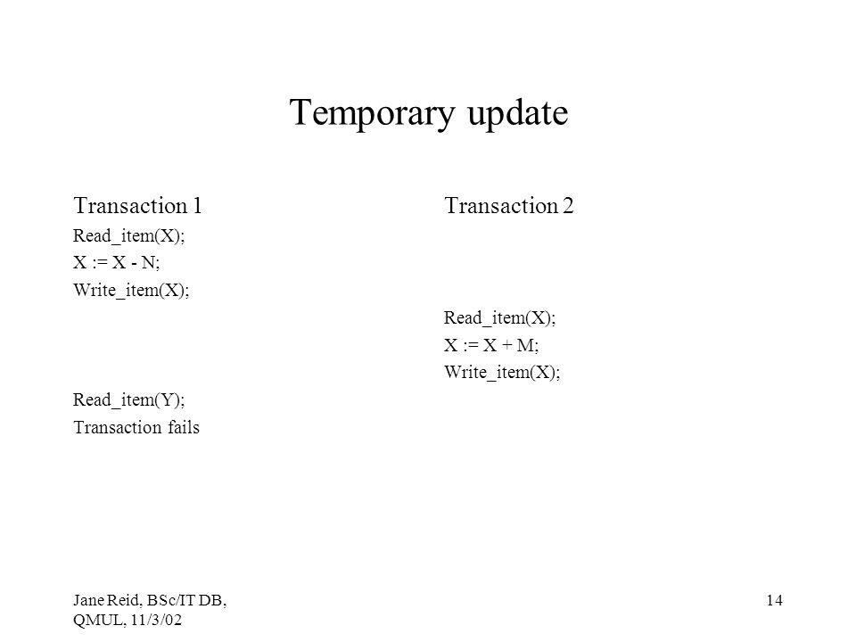Temporary update Transaction 1 Transaction 2 Read_item(X); X := X - N;