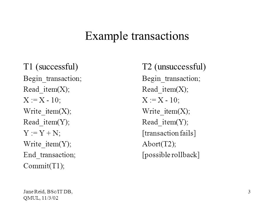 Example transactions T1 (successful) T2 (unsuccessful)