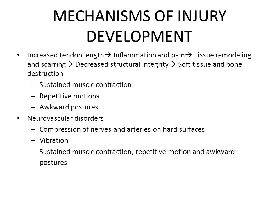 MECHANISMS OF INJURY DEVELOPMENT