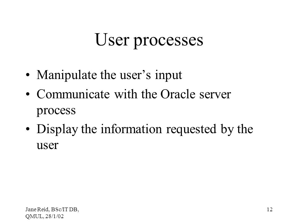 User processes Manipulate the user's input