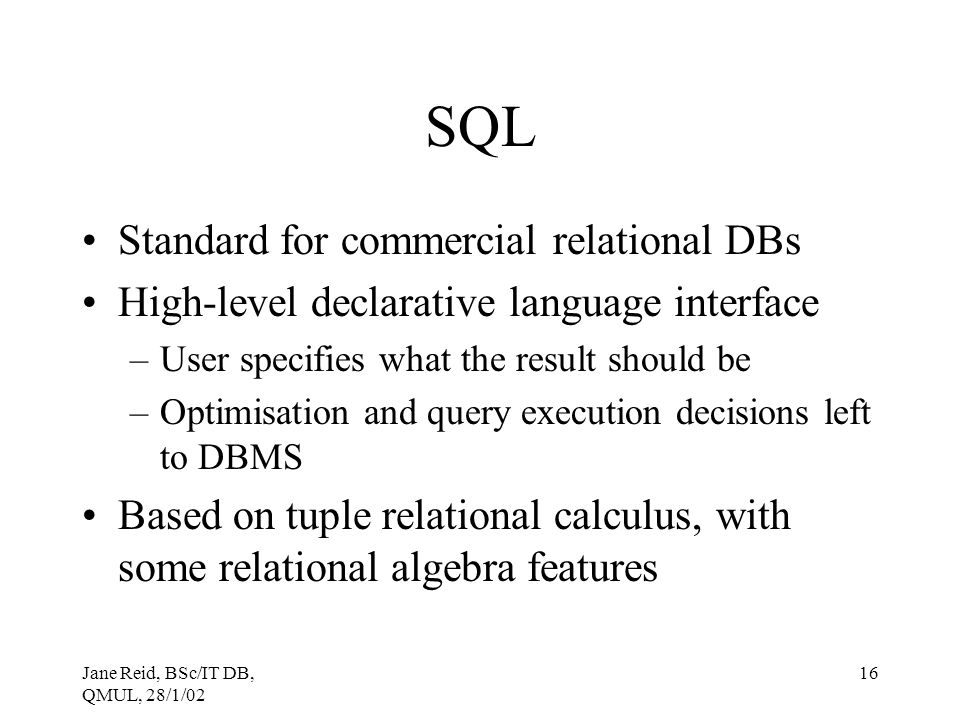 SQL Standard for commercial relational DBs
