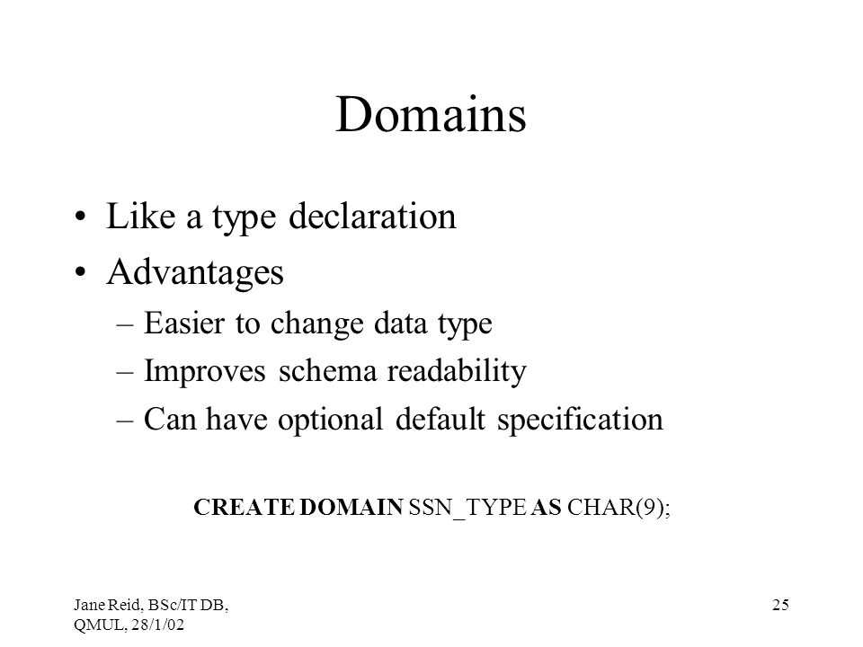 CREATE DOMAIN SSN_TYPE AS CHAR(9);