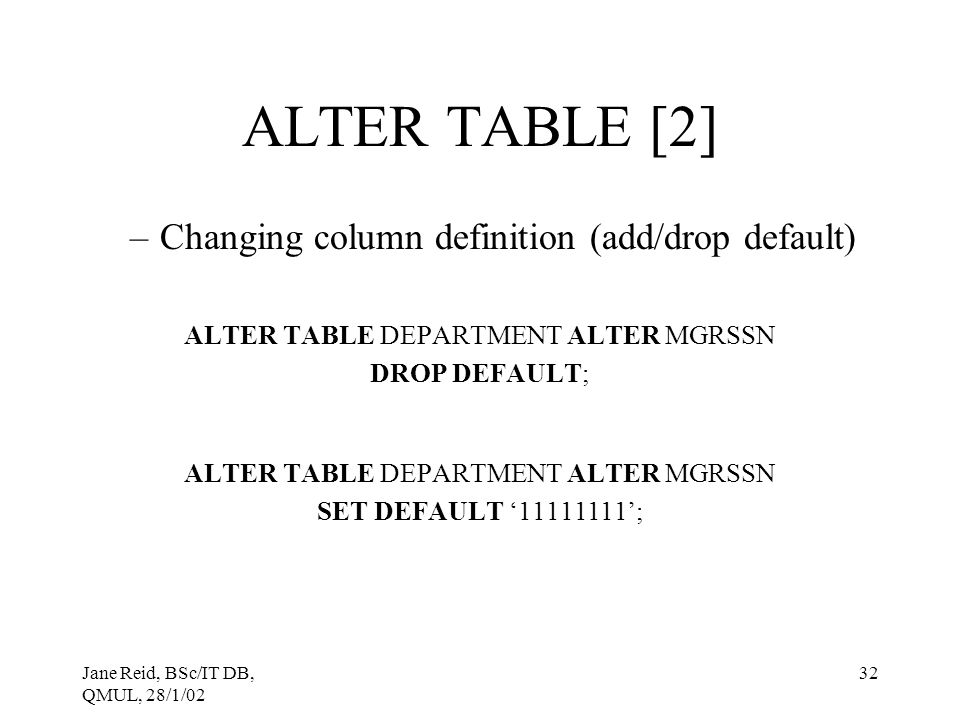ALTER TABLE DEPARTMENT ALTER MGRSSN
