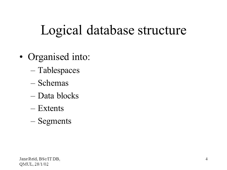 Logical database structure