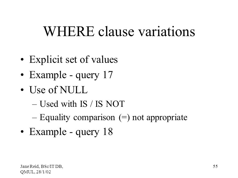 WHERE clause variations