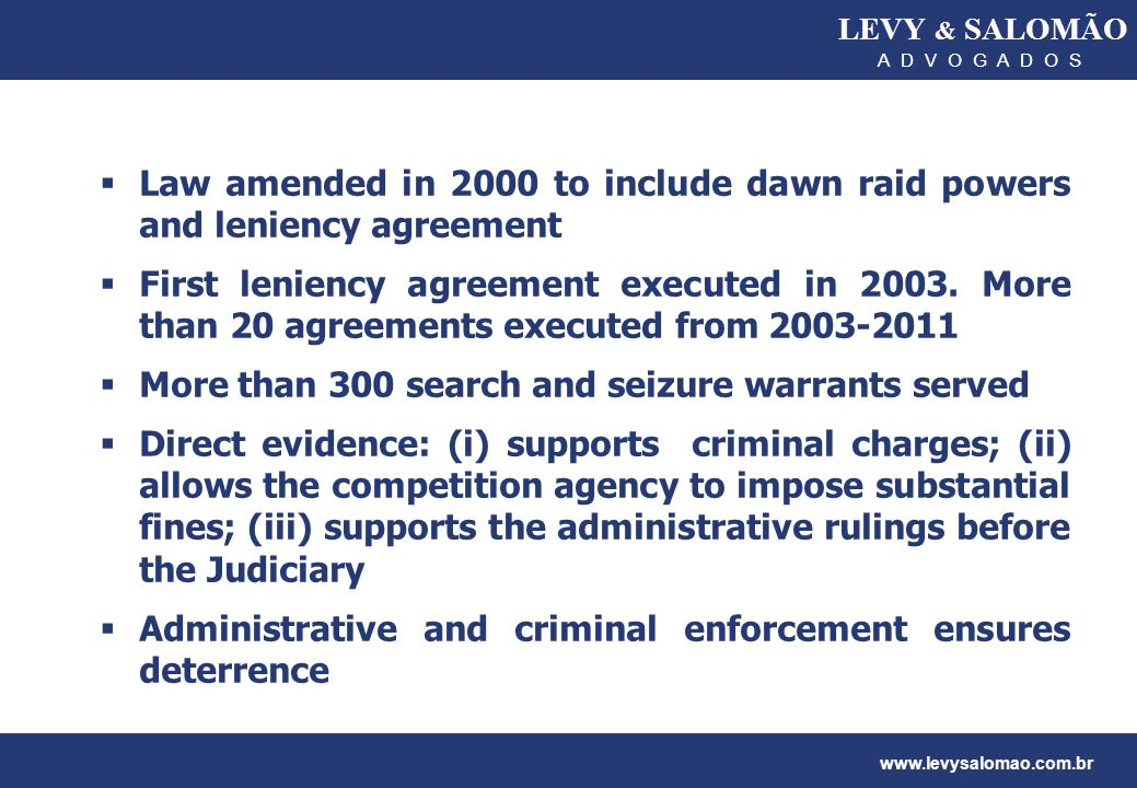 Law amended in 2000 to include dawn raid powers and leniency agreement