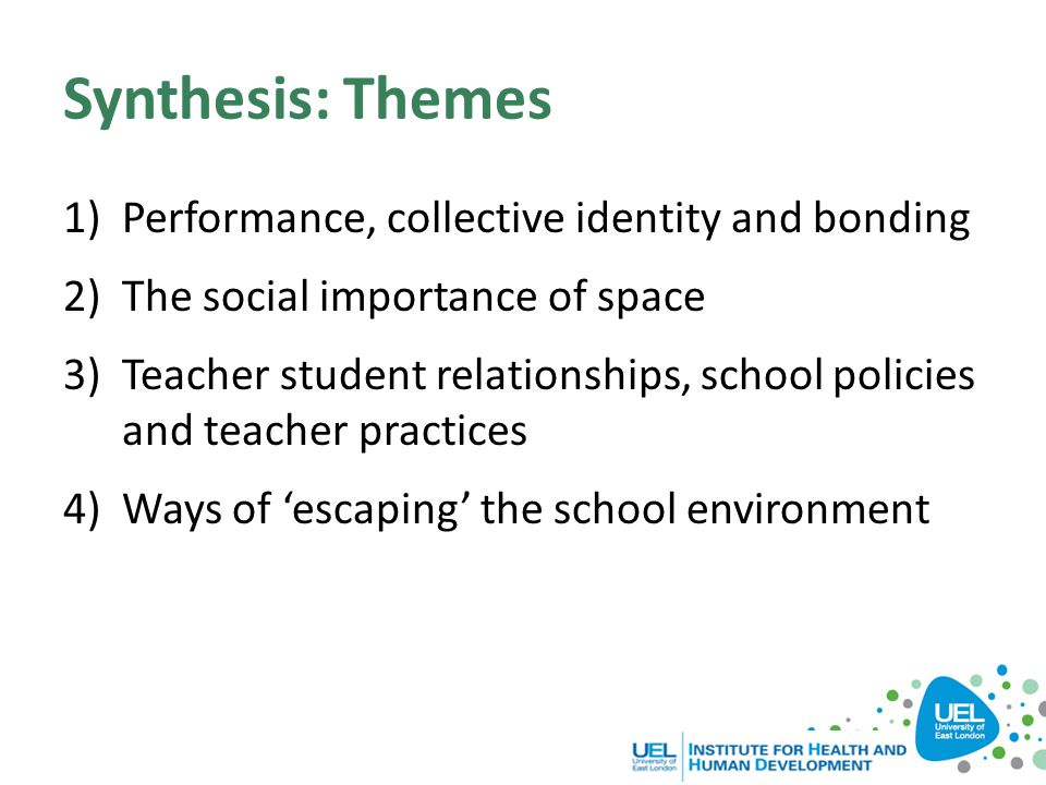 Synthesis: Themes Performance, collective identity and bonding