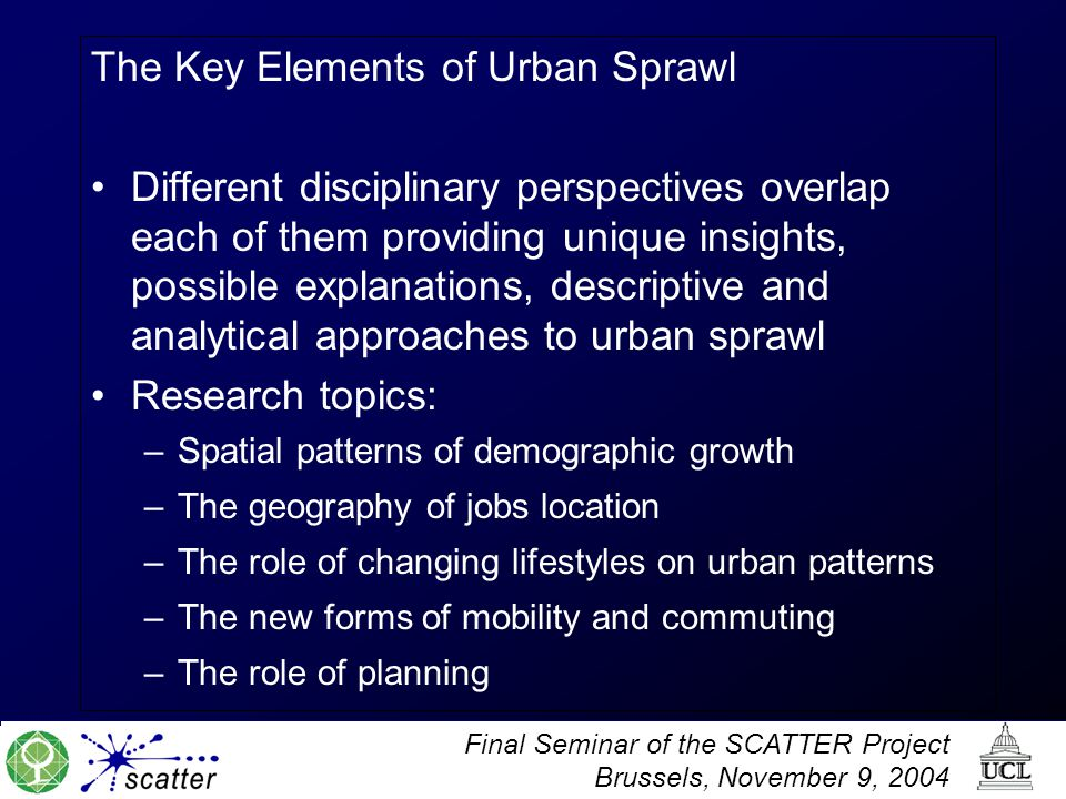 The Key Elements of Urban Sprawl