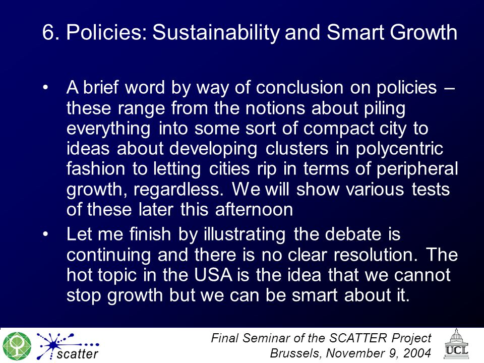 6. Policies: Sustainability and Smart Growth