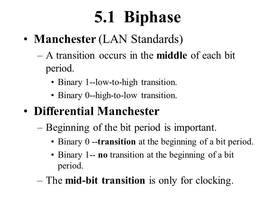 5.1 Biphase Manchester (LAN Standards) Differential Manchester