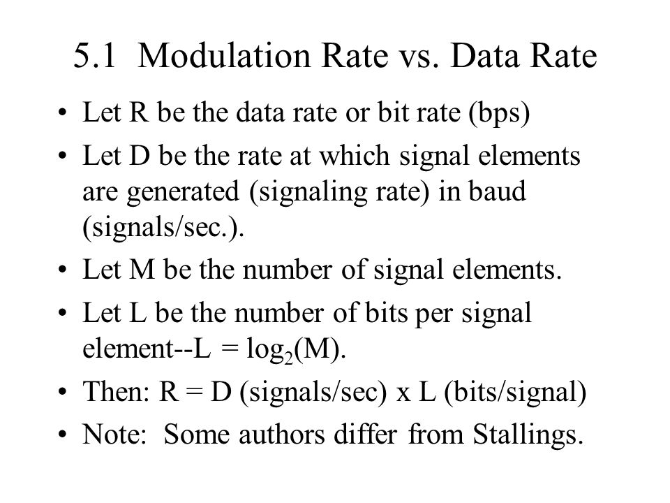 5.1 Modulation Rate vs. Data Rate